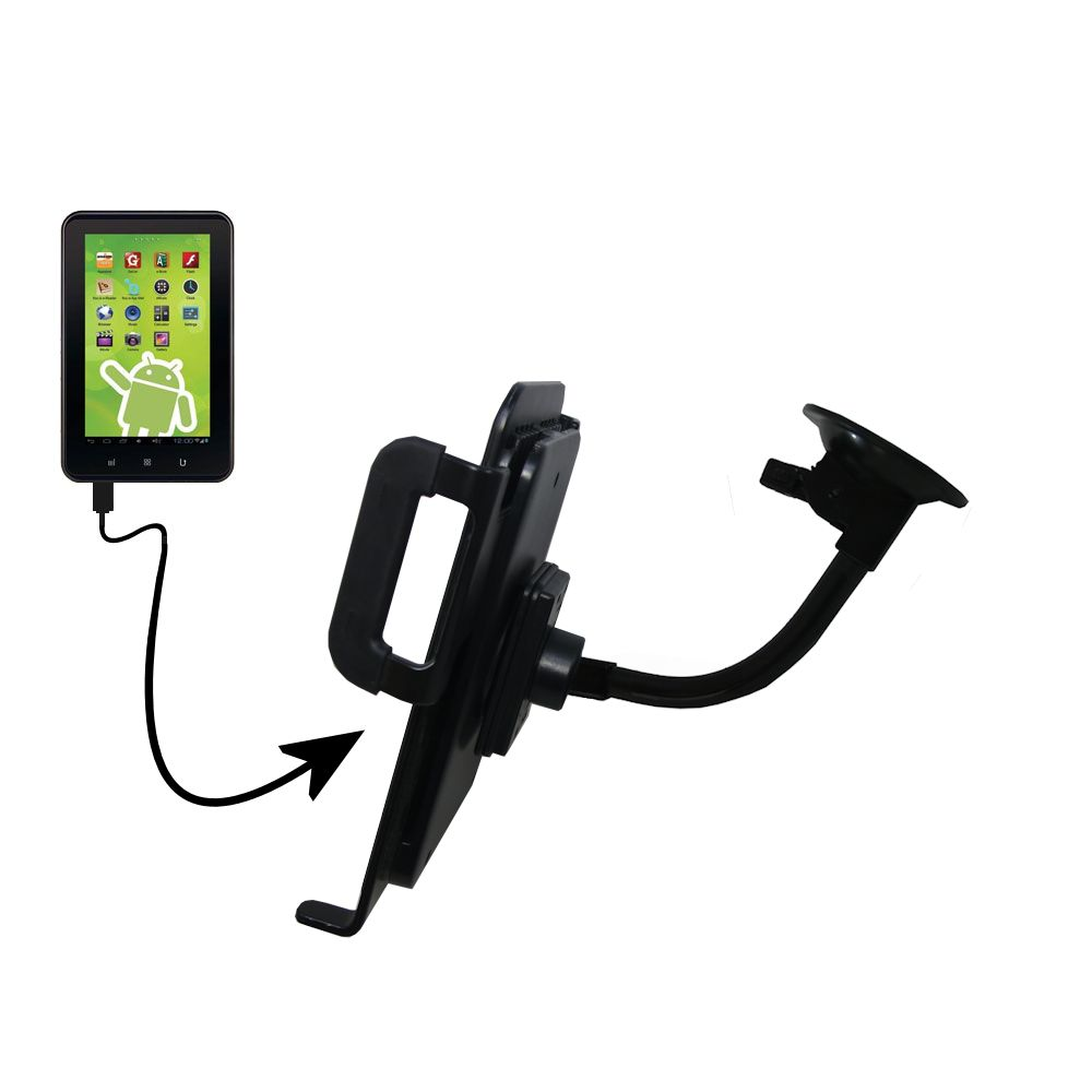 Gooseneck Holder Base with Suction Cup Mount compatible with Zeki 7 Tablet TB782B Tablet