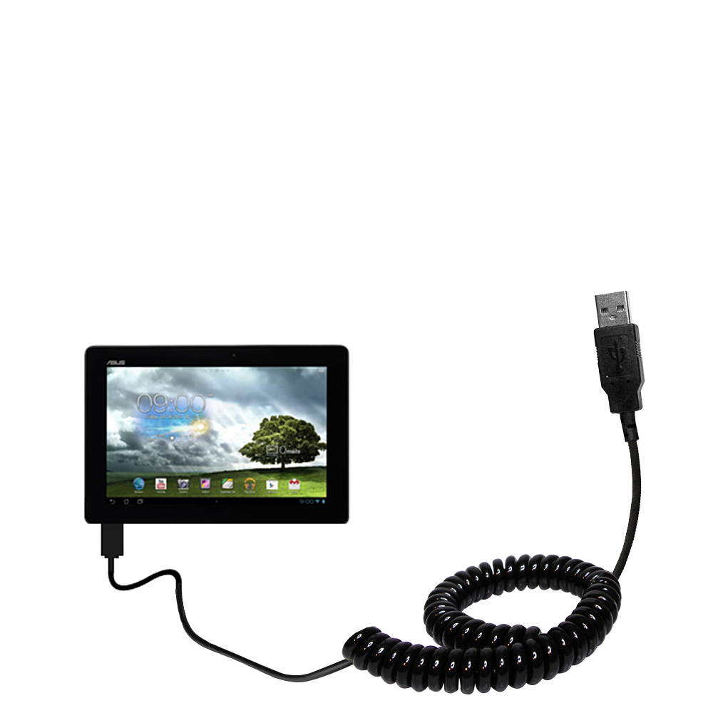 Coiled Power Hot Sync USB Cable suitable for the Asus MeMo Pad Smart 10 with both data and charge features - Uses Gomadic TipExchange Technology