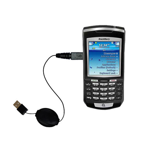 Retractable USB Power Port Ready charger cable designed for the Blackberry 7100x and uses TipExchange
