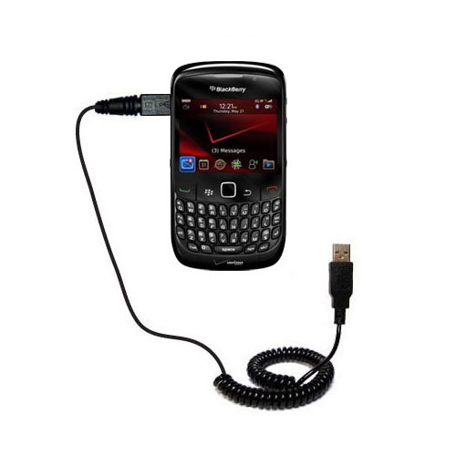 Coiled USB Cable compatible with the Blackberry Bold 9650