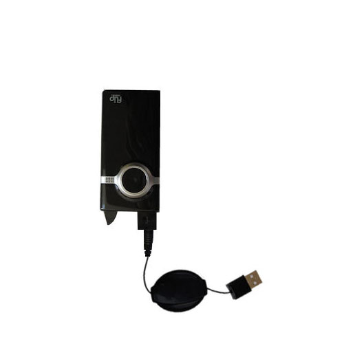 USB Power Port Ready retractable USB charge USB cable wired specifically for the Pure Digital Flip Video MinoHD and uses TipExchange