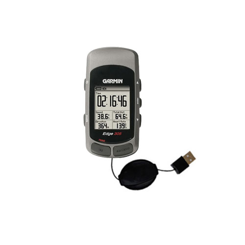 Retractable USB Power Port Ready charger cable designed for the Garmin Edge 305 and uses TipExchange