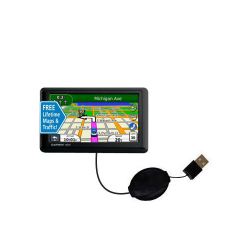 Retractable USB Power Port Ready charger cable designed for the Garmin nuvi 1490LMT 1490T and uses TipExchange