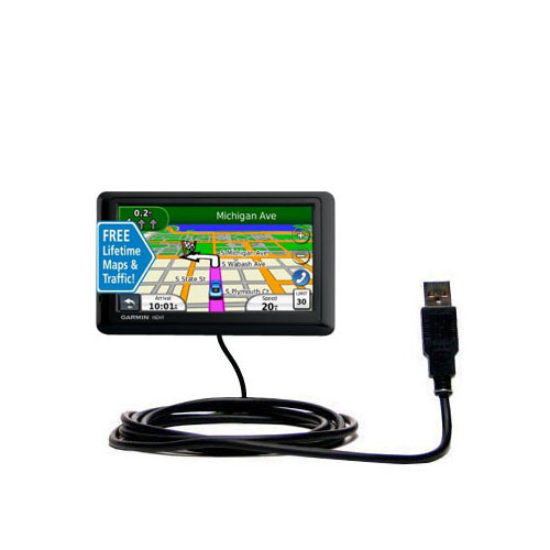Classic Straight USB Cable suitable for the Garmin nuvi 1490LMT 1490T with Power Hot Sync and Charge Capabilities - Uses Gomadic TipExchange Technology