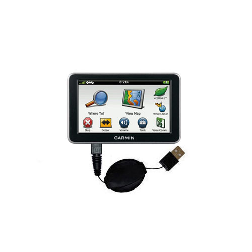 USB Power Port Ready retractable USB charge USB cable wired specifically for the Garmin Nuvi 2460 2450 and uses TipExchange