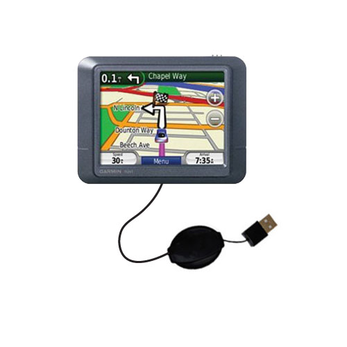 USB Power Port Ready retractable USB charge USB cable wired specifically for the Garmin Nuvi 255 and uses TipExchange