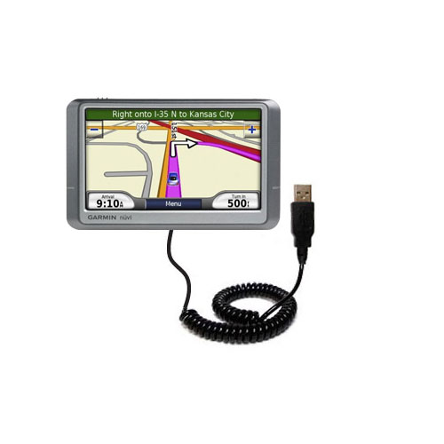 Coiled Power Hot Sync USB Cable suitable for the Garmin Nuvi 255W 255WT 255 with both data and charge features - Uses Gomadic TipExchange Technology