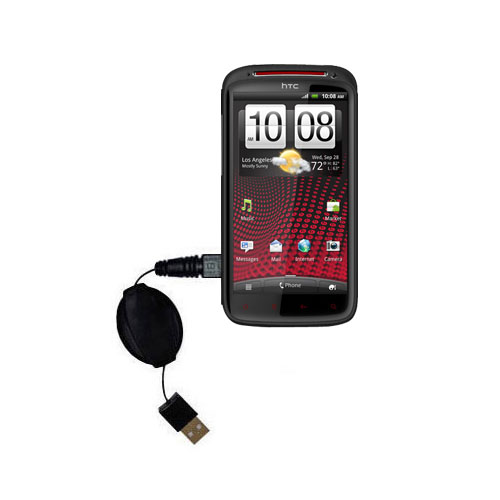 USB Power Port Ready retractable USB charge USB cable wired specifically for the HTC Sensation XE and uses TipExchange