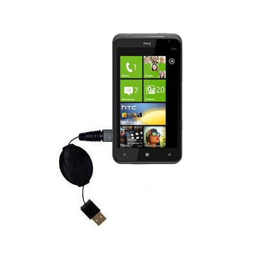 Retractable USB Power Port Ready charger cable designed for the HTC Titan and uses TipExchange