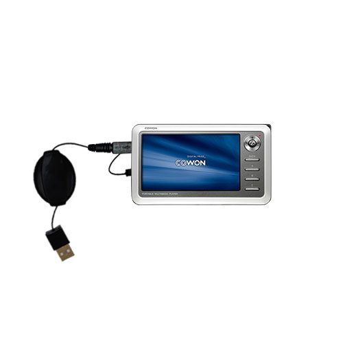 Retractable USB Power Port Ready charger cable designed for the Cowon iAudio A2 Portable Media Player and uses TipExchange