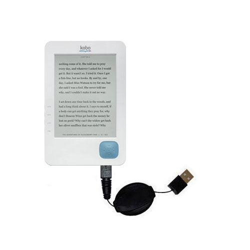 Retractable USB Power Port Ready charger cable designed for the Kobo eReader and uses TipExchange