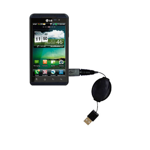 Retractable USB Power Port Ready charger cable designed for the LG Thrill 4G and uses TipExchange