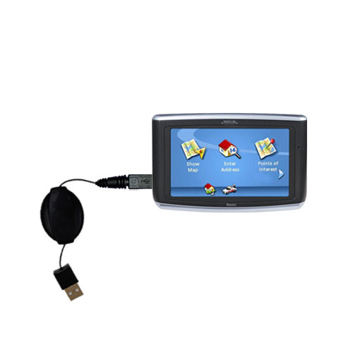 Retractable USB Power Port Ready charger cable designed for the Magellan Maestro 3200 and uses TipExchange