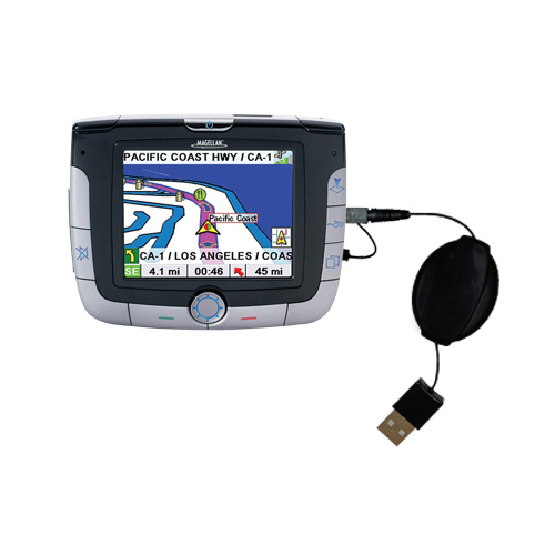 USB Power Port Ready retractable USB charge USB cable wired specifically for the Magellan Roadmate 3000T and uses TipExchange