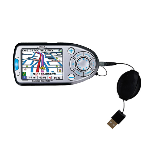 Retractable USB Power Port Ready charger cable designed for the Magellan Roadmate 800 and uses TipExchange