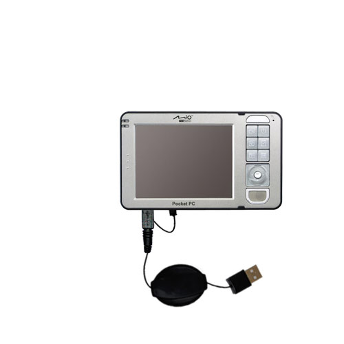 Retractable USB Power Port Ready charger cable designed for the Mio 169 and uses TipExchange