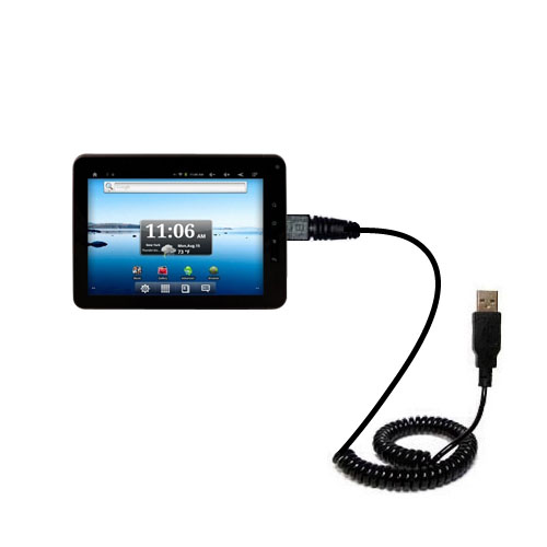 Coiled Power Hot Sync USB Cable suitable for the Nextbook Premium8 Tablet with both data and charge features - Uses Gomadic TipExchange Technology