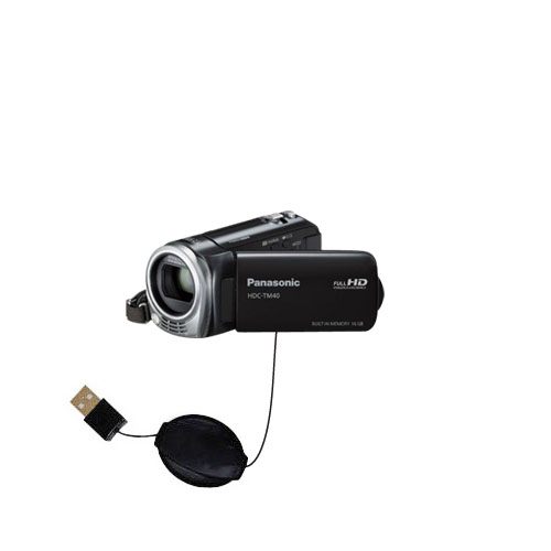 USB Power Port Ready retractable USB charge USB cable wired specifically for the Panasonic HDC-TM40 HDC-TM41 and uses TipExchange