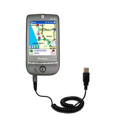 Coiled Power Hot Sync USB Cable suitable for the Pharos GPS 525E with both data and charge features - Uses Gomadic TipExchange Technology