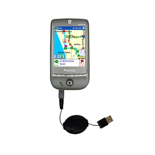 USB Power Port Ready retractable USB charge USB cable wired specifically for the Pharos GPS 525E and uses TipExchange
