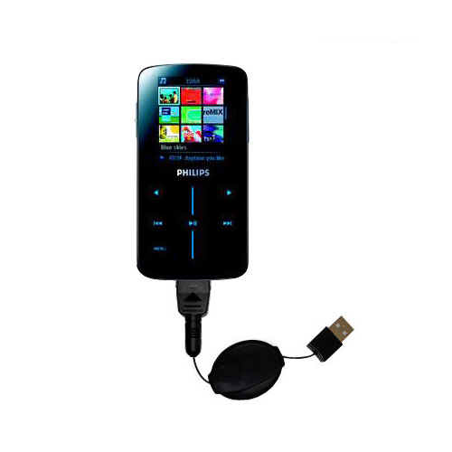 Retractable USB Power Port Ready charger cable designed for the Philips GoGear SA9325/00 and uses TipExchange