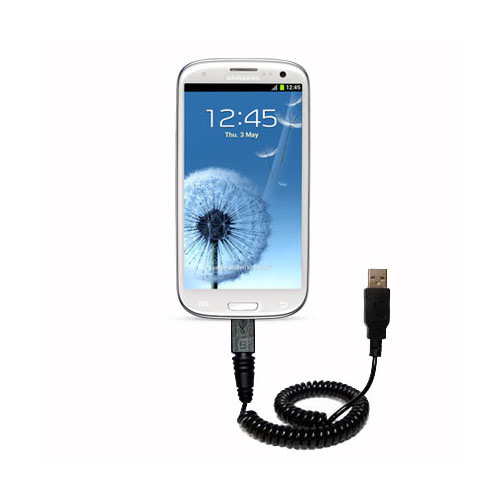 Coiled Power Hot Sync USB Cable suitable for the Samsung Galaxy S III with both data and charge features - Uses Gomadic TipExchange Technology