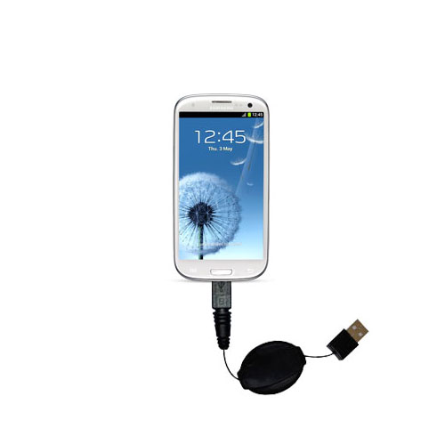Retractable USB Power Port Ready charger cable designed for the Samsung Galaxy S III and uses TipExchange