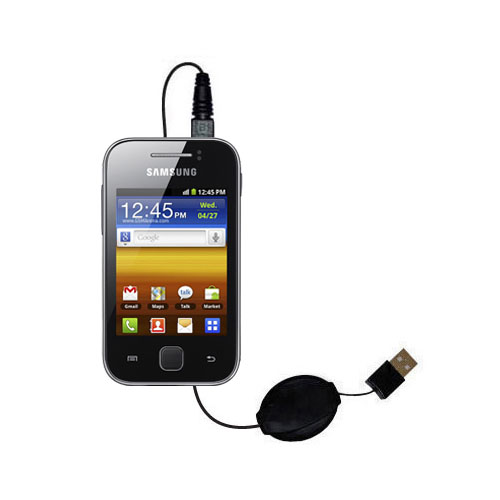 Retractable USB Power Port Ready charger cable designed for the Samsung Galaxy Y and uses TipExchange