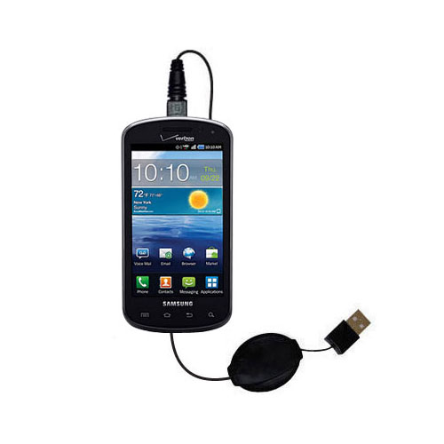 USB Power Port Ready retractable USB charge USB cable wired specifically for the Samsung Stratosphere and uses TipExchange