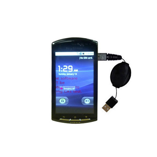USB Power Port Ready retractable USB charge USB cable wired specifically for the Sony Ericsson LT15i and uses TipExchange