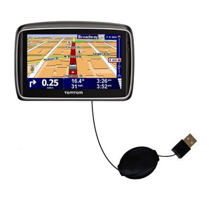 Retractable USB Power Port Ready charger cable designed for the TomTom 740 and uses TipExchange