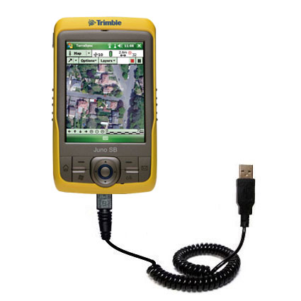 Coiled Power Hot Sync USB Cable suitable for the Trimble Juno SB with both data and charge features - Uses Gomadic TipExchange Technology
