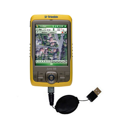Retractable USB Power Port Ready charger cable designed for the Trimble Juno SB and uses TipExchange