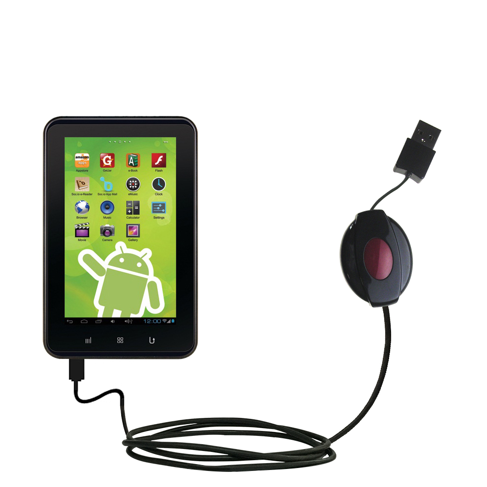 Retractable USB Power Port Ready charger cable designed for the Zeki 7 Tablet TB782B and uses TipExchange