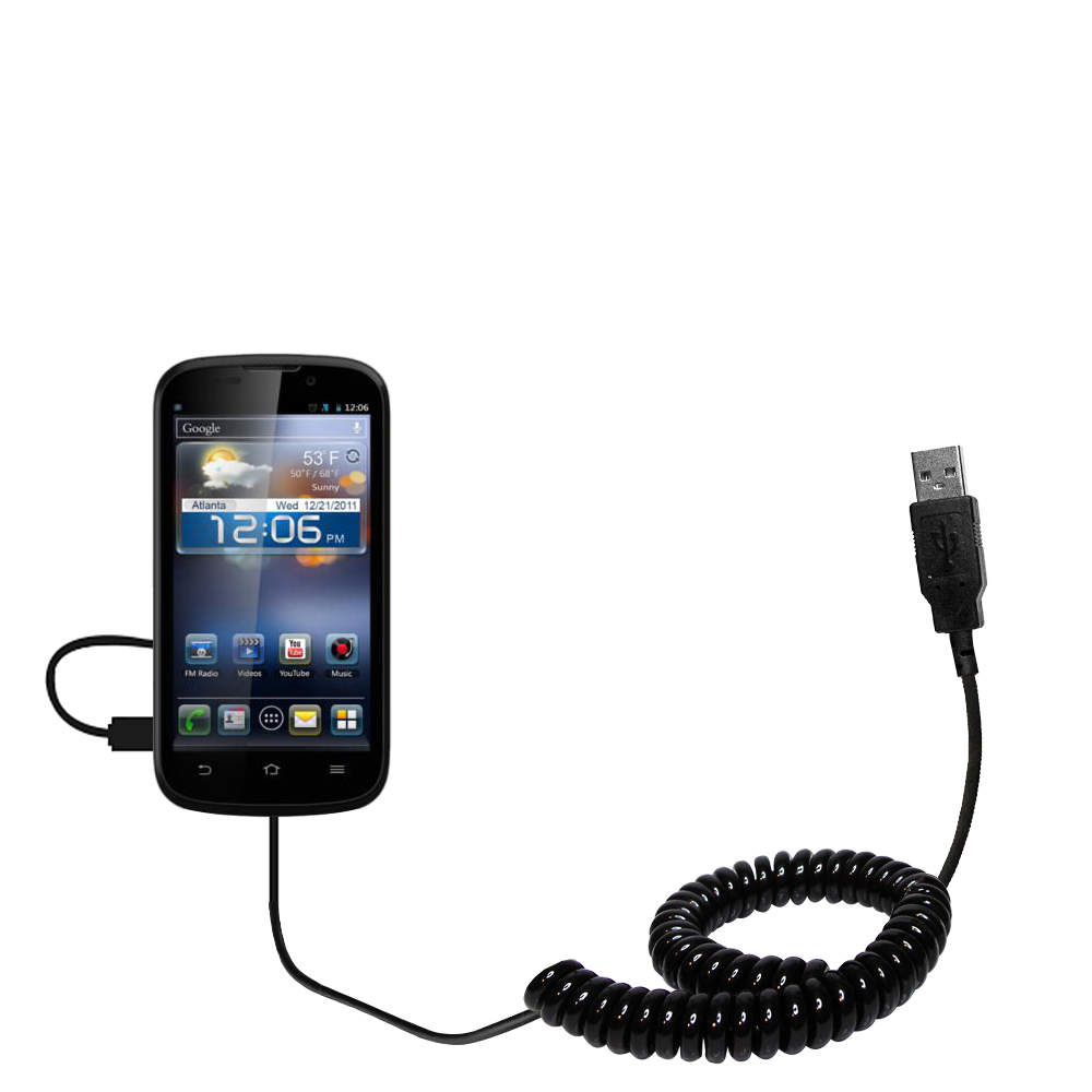 Coiled Power Hot Sync USB Cable suitable for the ZTE Awe with both data and charge features - Uses Gomadic TipExchange Technology