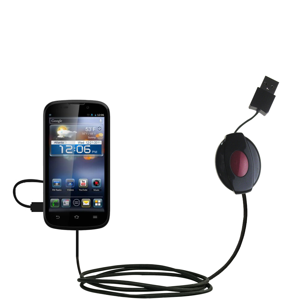 USB Power Port Ready retractable USB charge USB cable wired specifically for the ZTE Awe and uses TipExchange