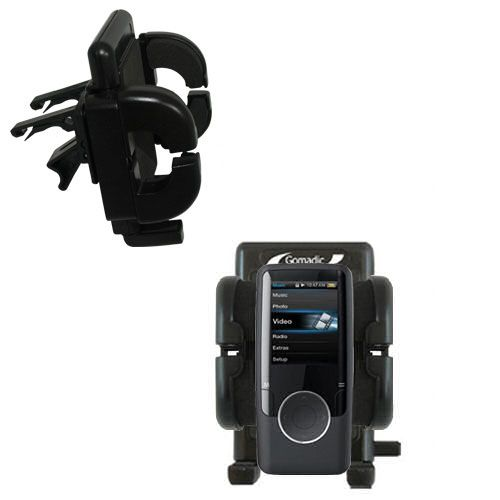 Gomadic Air Vent Clip Based Cradle Holder Car / Auto Mount suitable for the Coby MP620 Video MP3 Player - Lifetime Warranty