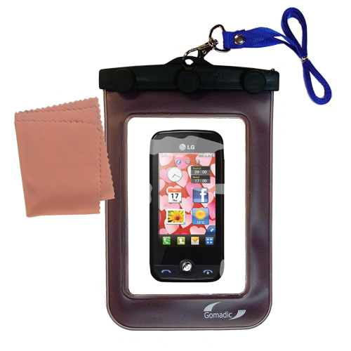 Gomadic clean and dry waterproof protective case suitablefor the LG Cookie Fresh (GS290)  to use underwater - Unique Floating Design