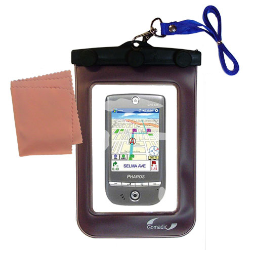 Gomadic clean and dry waterproof protective case suitablefor the Pharos GPS 525E  to use underwater - Unique Floating Design