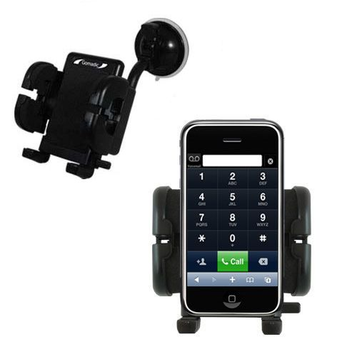 Gomadic Brand Flexible Car Auto Windshield Holder Mount designed for the Apple iPhone - Gooseneck Suction Cup Style Cradle