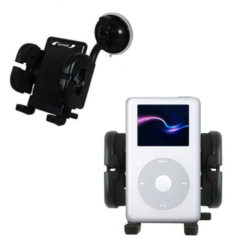 Gomadic Brand Flexible Car Auto Windshield Holder Mount designed for the Apple iPod 4G (20GB) - Gooseneck Suction Cup Style Cradle