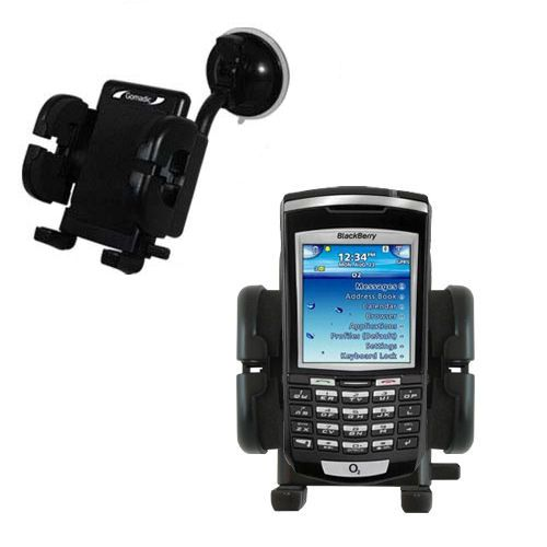Gomadic Brand Flexible Car Auto Windshield Holder Mount designed for the Blackberry 7100x - Gooseneck Suction Cup Style Cradle