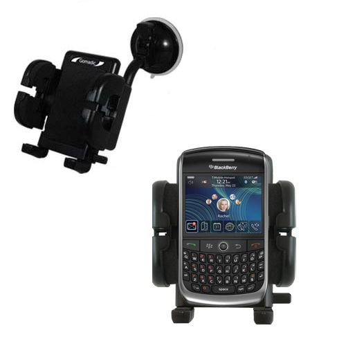 Gomadic Brand Flexible Car Auto Windshield Holder Mount designed for the Blackberry 8900 - Gooseneck Suction Cup Style Cradle