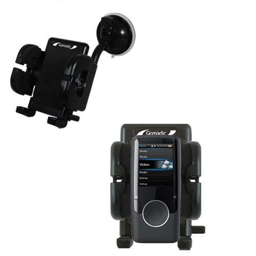Gomadic Brand Flexible Car Auto Windshield Holder Mount designed for the Coby MP620 Video MP3 Player - Gooseneck Suction Cup Style Cradle