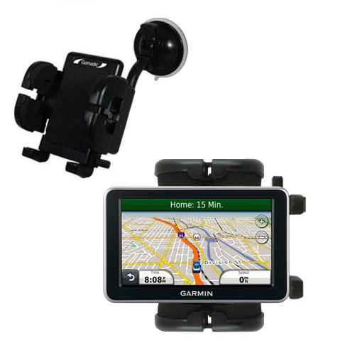 Gomadic Brand Flexible Car Auto Windshield Holder Mount designed for the Garmin Nuvi 2350 - Gooseneck Suction Cup Style Cradle