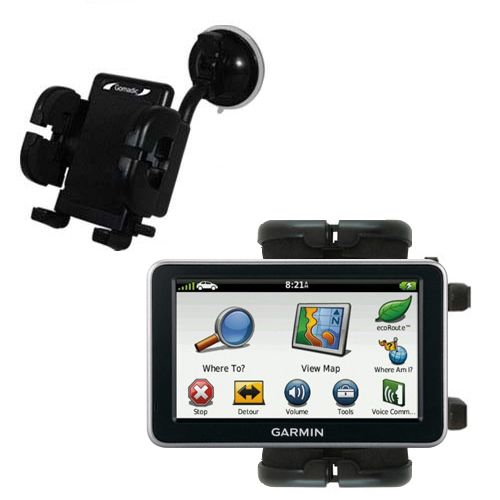 Gomadic Brand Flexible Car Auto Windshield Holder Mount designed for the Garmin Nuvi 2460 2450 - Gooseneck Suction Cup Style Cradle