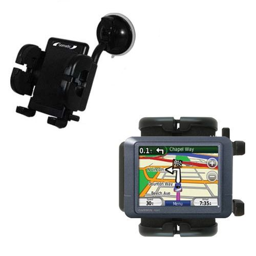 Gomadic Brand Flexible Car Auto Windshield Holder Mount designed for the Garmin Nuvi 255 - Gooseneck Suction Cup Style Cradle