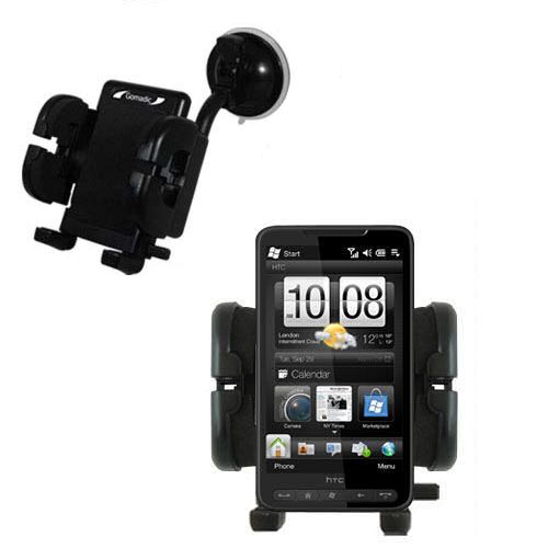 Gomadic Brand Flexible Car Auto Windshield Holder Mount designed for the HTC HD2 - Gooseneck Suction Cup Style Cradle