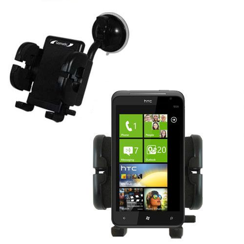 Gomadic Brand Flexible Car Auto Windshield Holder Mount designed for the HTC Titan - Gooseneck Suction Cup Style Cradle