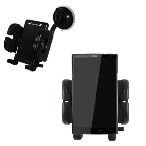 Gomadic Brand Flexible Car Auto Windshield Holder Mount designed for the HTC Zeta - Gooseneck Suction Cup Style Cradle
